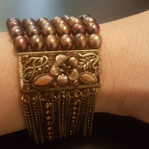 Jewelry - VINTAGE Beaded and Genuine Crystal Bracelet